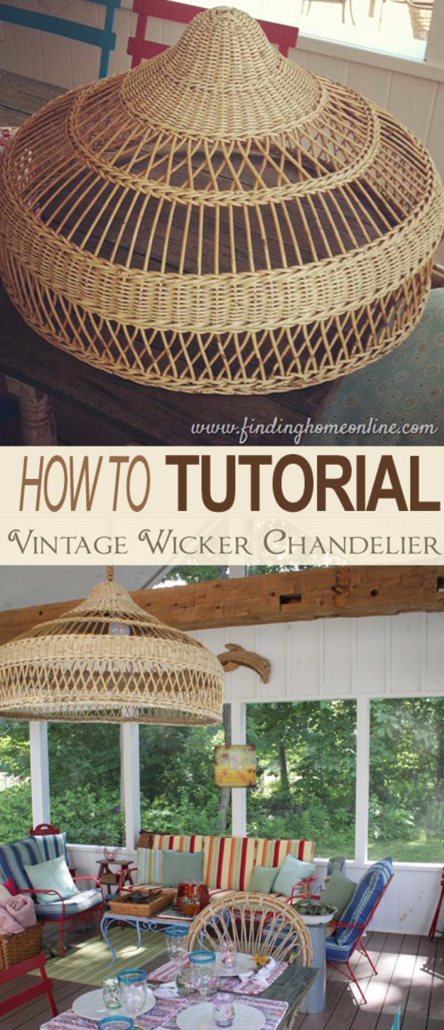 DIY Chandelier Ideas and Project Tutorials - Wicker Shade Chandelier DIY - Easy Makeover Tips, Rustic Pipe, Crystal, Rustic, Mason Jar, Beads. Bedroom, Outdoor and Wedding Girls Room Lighting Ideas With Step by Step Instructions