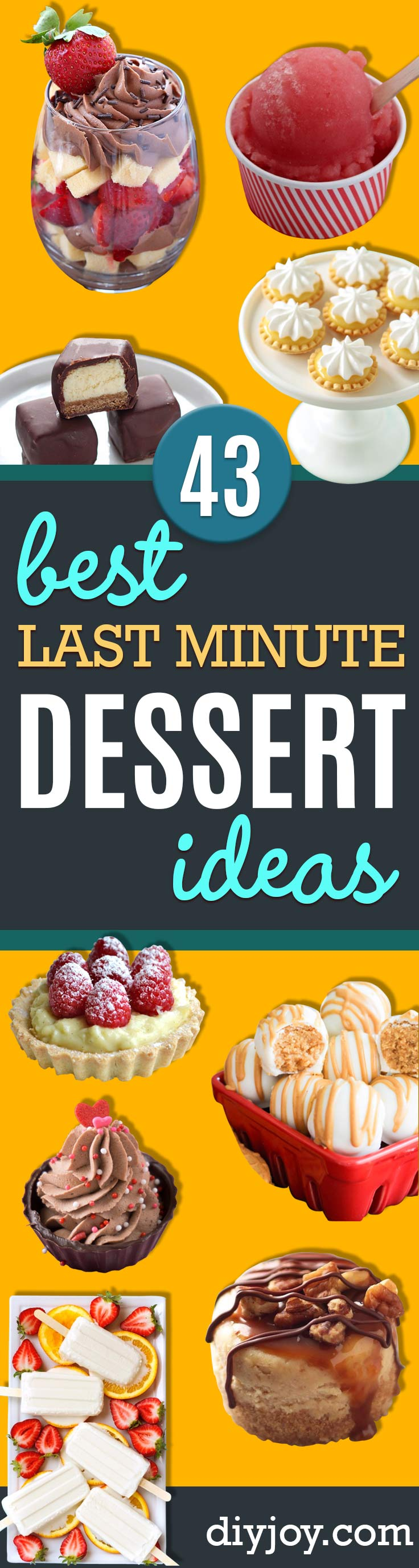Last Minute Dessert Recipes and Ideas - Healthy and Easy Ideas for No Bake Recipe Foods, Chocolate, Peanut Butter. Best Simple Ideas for Summer, For A Crowd and for Parties