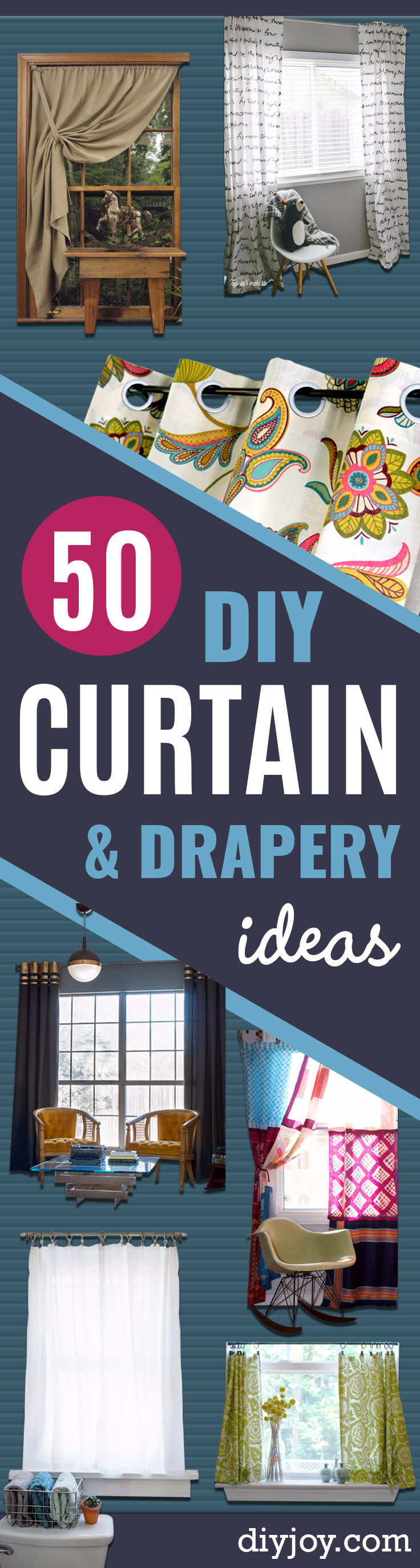 DIY Curtains and Drapery Ideas - Easy No Sew Ideas and Step by Step Tutorials for Drapes and Curtain Ideas - Cheap and Creative Projects for Bedroom, Living Room, Kitchen, Kids and Teen Rooms - Simple Draperies for Fabric, Made Out of Sheets, Blackout Curtains and Valances - Cheap Room Decor Idea for Window Treatment