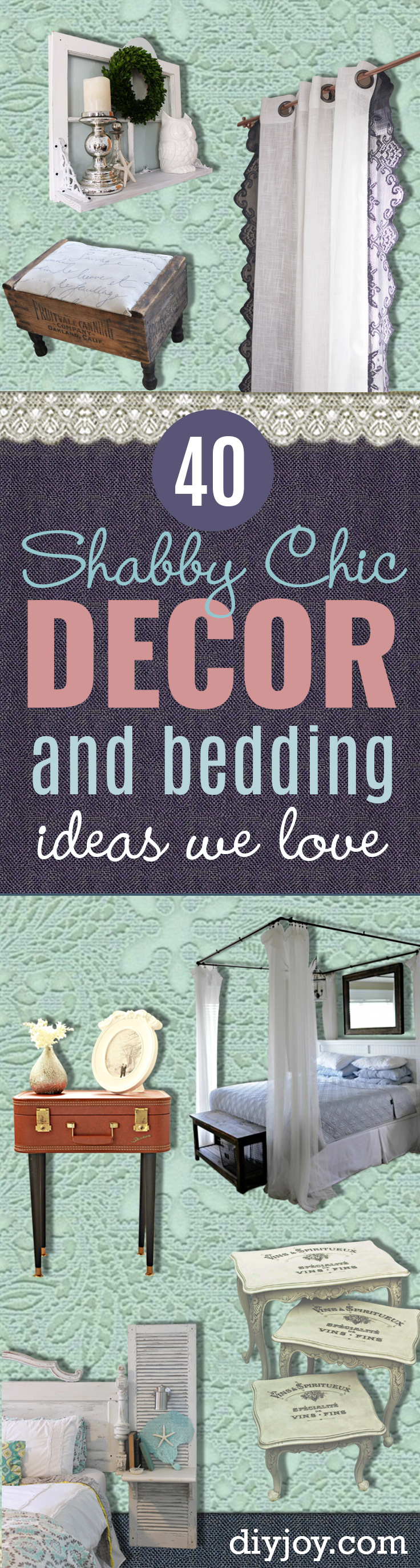 Shabby Chic Decor and Bedding Ideas - Rustic, Country French and Romantic Vintage Bedroom, Living Room and Kitchen Country Cottage Furniture and Home Decor Ideas. Step by Step Tutorials and Instructions http://diyjoy.com/diy-shabby-chic-decor-bedding