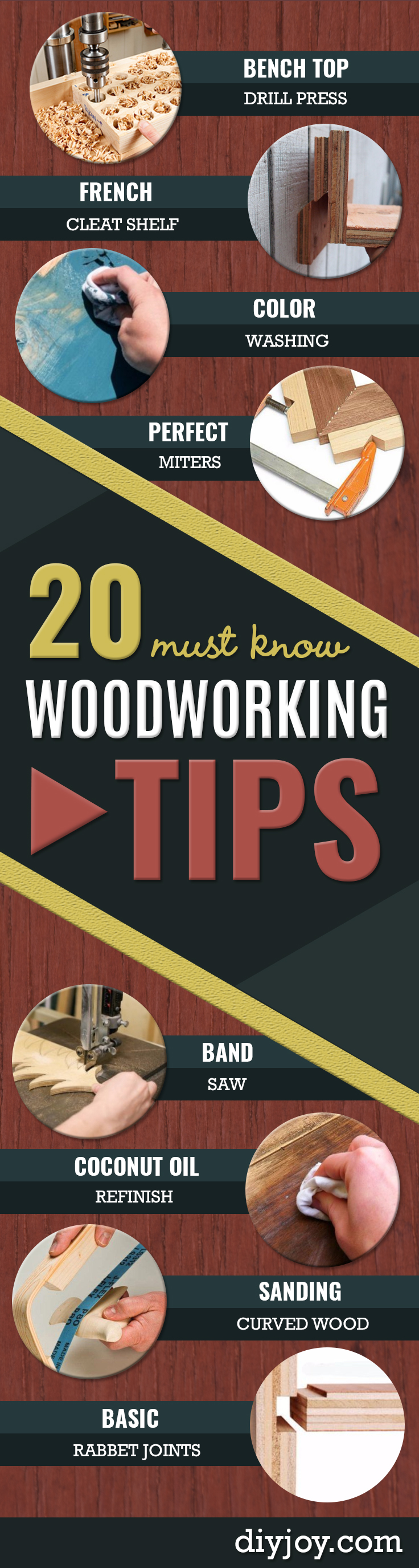 Cool Woodworking Tips- Easy Woodworking Ideas, Woodworking Tips and Tricks, Woodworking Tips For Beginners, Basic Guide For Woodworking http://diyjoy.com/diy-woodworking-tips