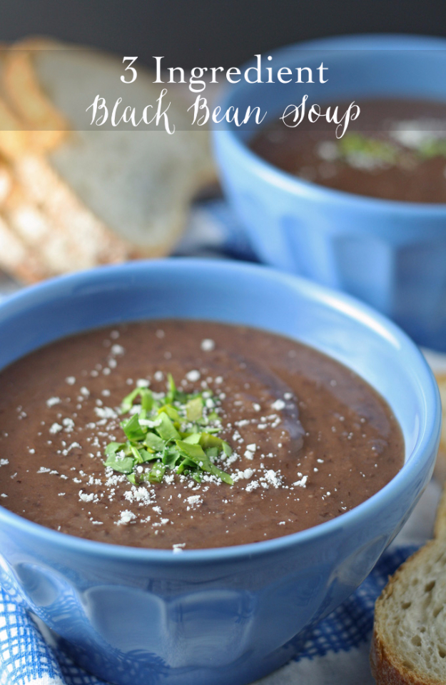 33 Easy Three Ingredient Recipes - 3 Ingredient Black Bean Soup Recipe - Quick And Healthy 3 Ingredients Recipe Ideas for Breakfast, Lunch, Dinner, Appetizers, Snacks and Desserts - Cookies, Chicken, Crockpot Ideas, Baking and Microwave Recipes and Tutorials #easyrecipes #quickrecipes