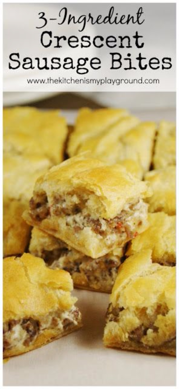 33 Easy Three Ingredient Recipes - 3 Ingredient Crescent Sausage Bites - Quick And Healthy 3 Ingredients Recipe Ideas for Breakfast, Lunch, Dinner, Appetizers, Snacks and Desserts - Cookies, Chicken, Crockpot Ideas, Baking and Microwave Recipes and Tutorials #easyrecipes #quickrecipes