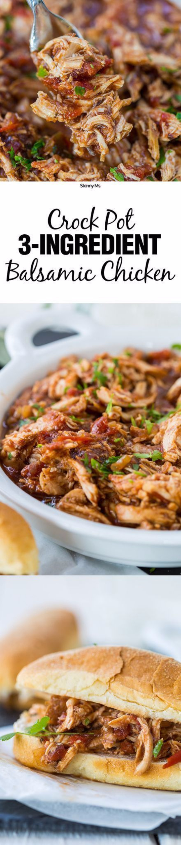 33 Easy Three Ingredient Recipes - 3 Ingredient Crock Pot Balsamic Chicken - Quick And Healthy 3 Ingredients Recipe Ideas for Breakfast, Lunch, Dinner, Appetizers, Snacks and Desserts - Cookies, Chicken, Crockpot Ideas, Baking and Microwave Recipes and Tutorials #easyrecipes #quickrecipes