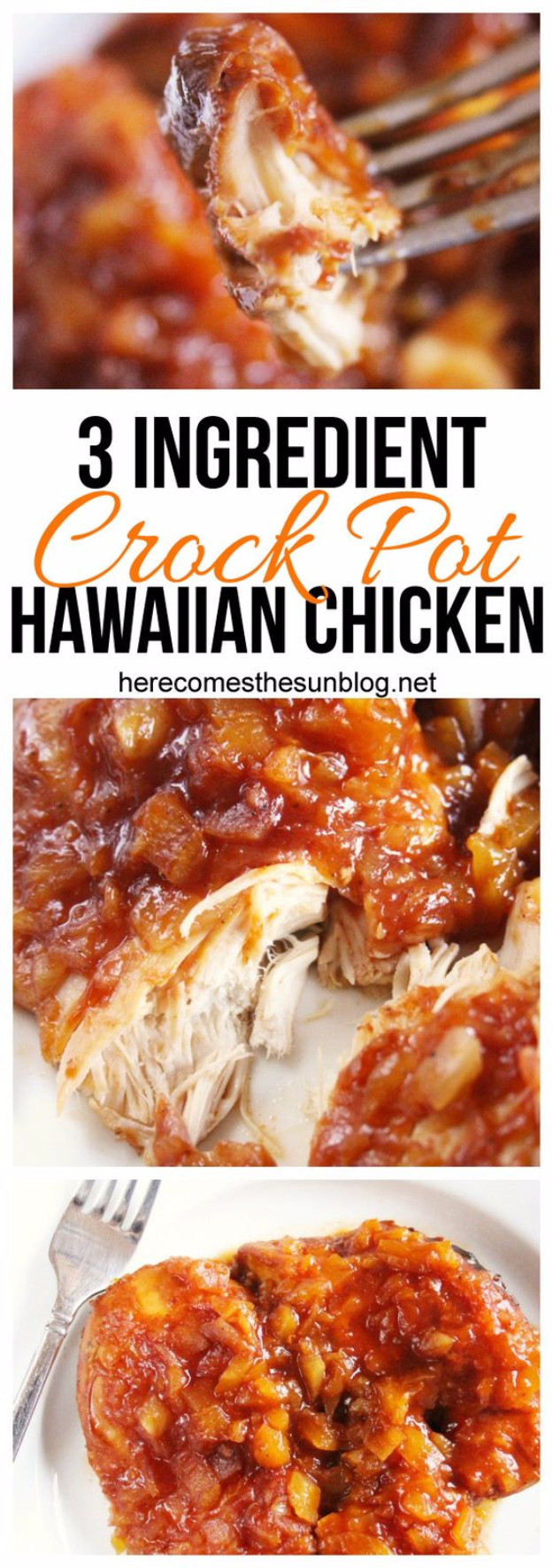 33 Easy Three Ingredient Recipes - 3 Ingredient Crock Pot Hawaiian Chicken - Quick And Healthy 3 Ingredients Recipe Ideas for Breakfast, Lunch, Dinner, Appetizers, Snacks and Desserts - Cookies, Chicken, Crockpot Ideas, Baking and Microwave Recipes and Tutorials #easyrecipes #quickrecipes