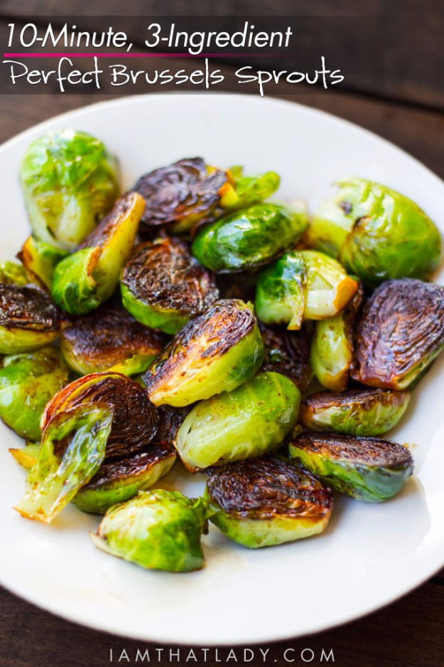 Easy Three Ingredient Vegetable Recipes - 3 Ingredient Perfect Brussel Sprouts - Quick And Healthy 3 Ingredients Recipe Ideas for Breakfast, Lunch, Dinner, Appetizers, Snacks and Desserts - Cookies, Chicken, Crockpot Ideas, Baking and Microwave Recipes and Tutorials #easyrecipes #quickrecipes