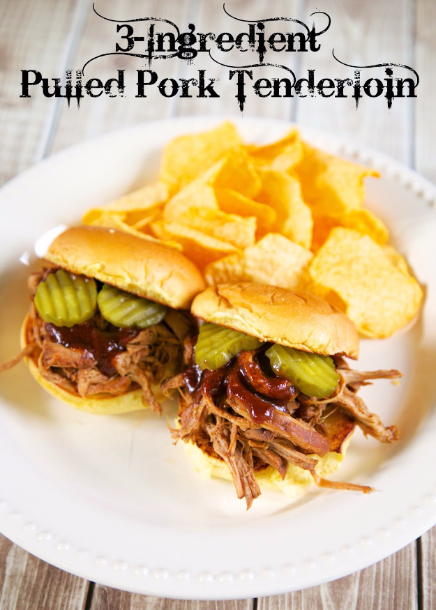 33 Easy Three Ingredient Recipes - 3 Ingredient Pulled Pork Tenderloin - Quick And Healthy 3 Ingredients Recipe Ideas for Breakfast, Lunch, Dinner, Appetizers, Snacks and Desserts - Cookies, Chicken, Crockpot Ideas, Baking and Microwave Recipes and Tutorials #easyrecipes #quickrecipes