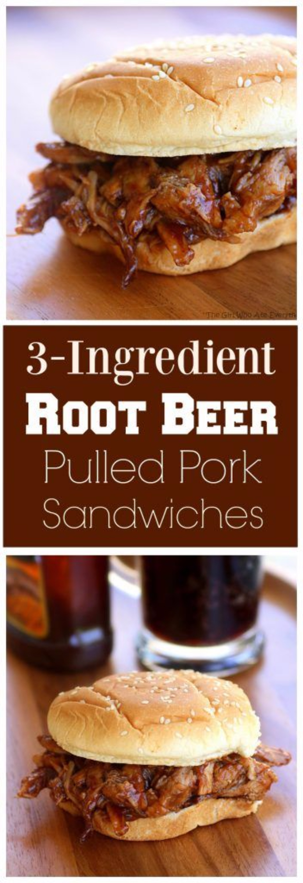 33 Easy Three Ingredient Recipes - 3 Ingredient Root Beer Pulled Pork Sandwiches - Quick And Healthy 3 Ingredients Recipe Ideas for Breakfast, Lunch, Dinner, Appetizers, Snacks and Desserts - Cookies, Chicken, Crockpot Ideas, Baking and Microwave Recipes and Tutorials #easyrecipes #quickrecipes