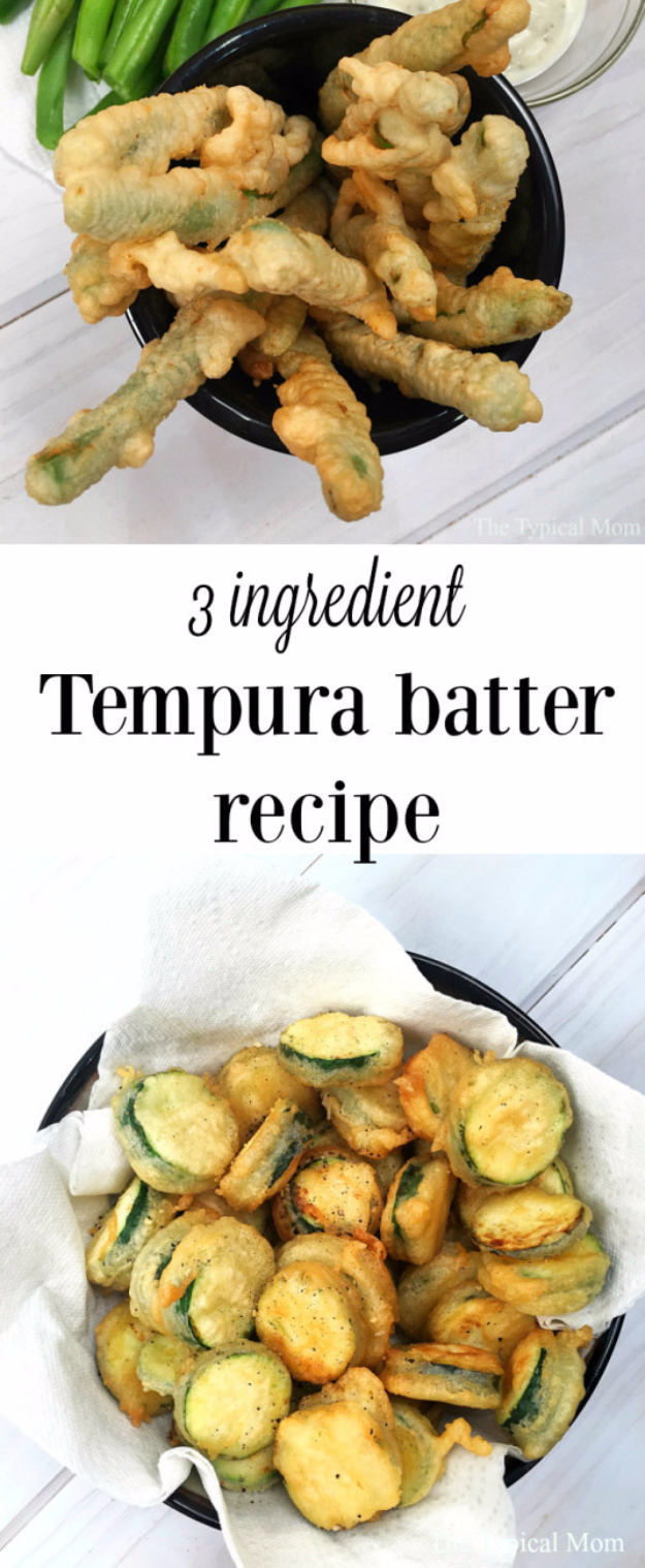33 Easy Three Ingredient Recipes - 3 Ingredient Tempura Batter Recipe - Quick And Healthy 3 Ingredients Recipe Ideas for Breakfast, Lunch, Dinner, Appetizers, Snacks and Desserts - Cookies, Chicken, Crockpot Ideas, Baking and Microwave Recipes and Tutorials #easyrecipes #quickrecipes