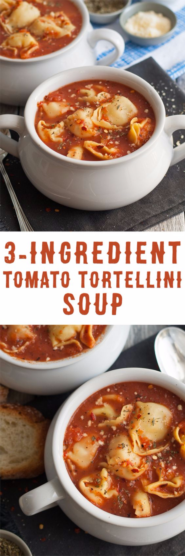 Easy Three Ingredient Soup Recipes -3 Ingredient Tomato Tortellini Soup - Quick And Healthy 3 Ingredients Recipe Ideas for Breakfast, Lunch, Dinner, Appetizers, Snacks and Desserts - Cookies, Chicken, Crockpot Ideas, Baking and Microwave Recipes and Tutorials #easyrecipes #quickrecipes