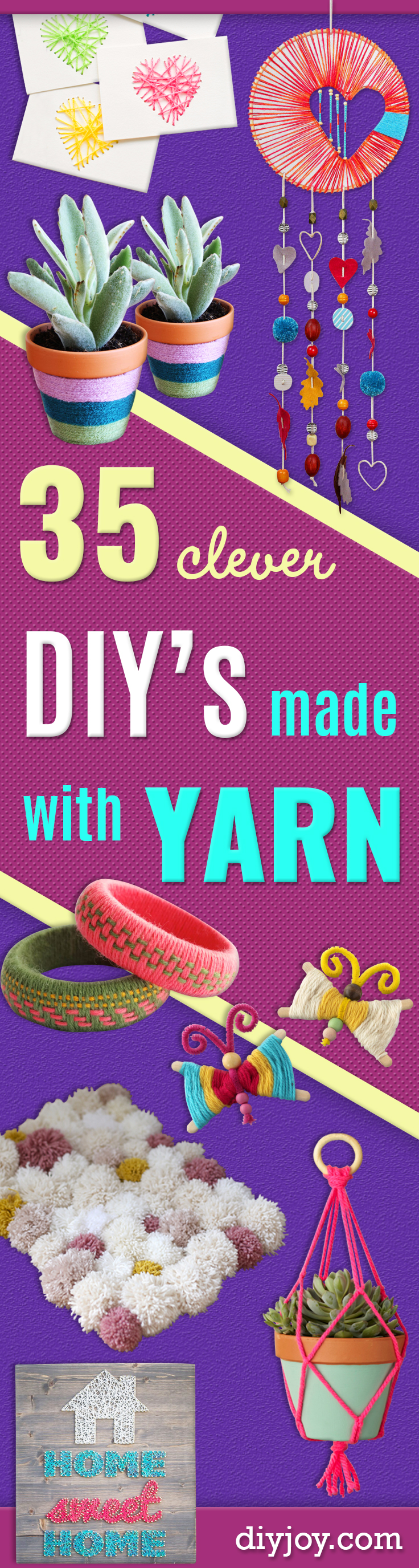 Clever DIY Crafts Made With Yarn - Yarn Crafts To Try, Easy Yarn DIYs, Fun Crafts To Do With Yarn, Wall Art, Awesome Yarn Ideas, Yarn DIY Projects, Brillian Yarn Craft Tutorials http://diyjoy.com/diy-yarn-crafts