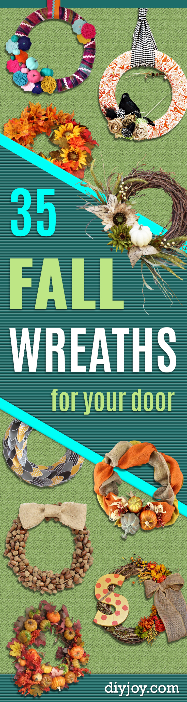 35 Fall Wreaths for Your Door -  Fall Wreaths For Front Door, Fall Wreaths Ideas To Try, Easy DIY Fall Wreaths, Brilliant Fall Wreath DIY, Porch Decor, Cool Ideas For Fall, Fall Projects http://diyjoy.com/fall-wreaths-door