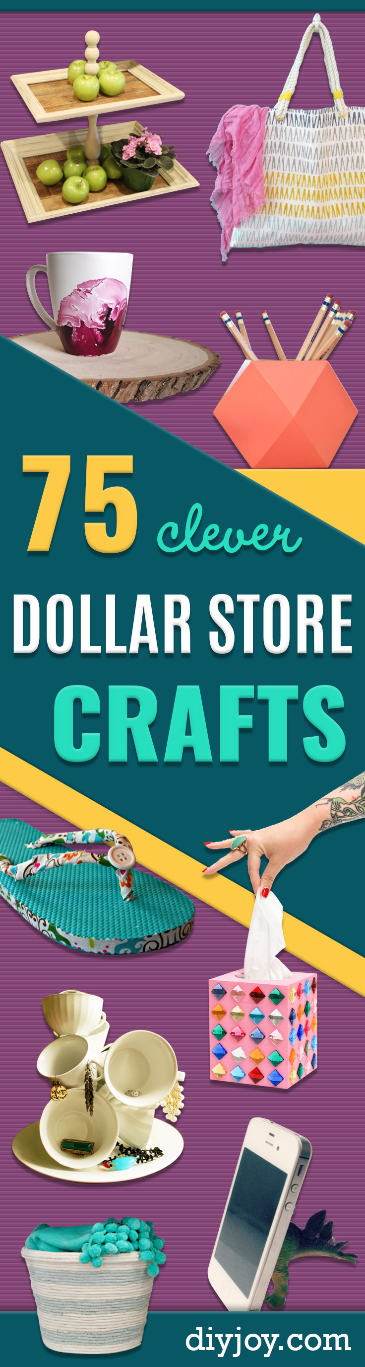 Dollar Store Crafts - Best Cheap DIY Dollar Store Craft Ideas for Kids, Teen, Adults, Gifts and For Home - Christmas Gift Ideas, Jewelry, Easy Decorations. Crafts to Make and Sell and Organization Projects #dollarstore #crafts #diy