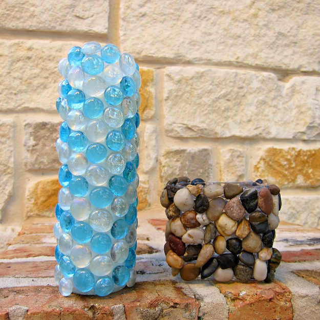 Dollar Store Crafts - Accent Stone Candle Holders - Best Cheap DIY Dollar Store Craft Ideas for Kids, Teen, Adults, Gifts and For Home #dollarstore #crafts #cheapcrafts #diy