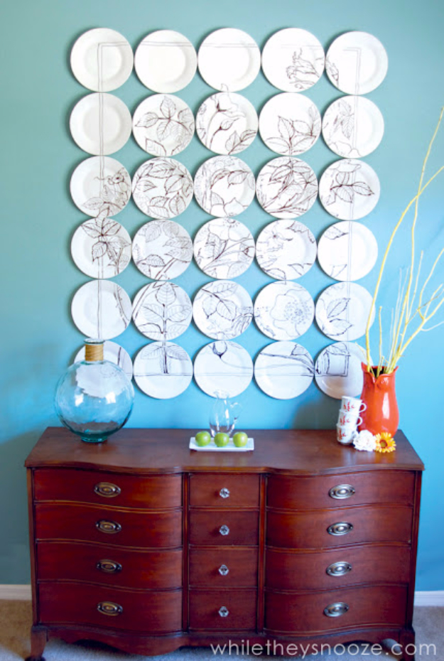 Dollar Store Crafts - Anthropologie Plate Art - Best Cheap DIY Dollar Store Craft Ideas for Kids, Teen, Adults, Gifts and For Home #dollarstore #crafts #cheapcrafts #diy