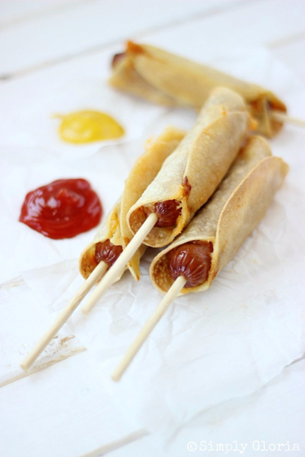 33 Easy Recipes for Back To School - Baked Corn Tortillas Cheese Dogs - Quick and Delicious Recipe Ideas for Kids and Adults. Pack for School Lunches, Make Ahead for Work, Freeze and Store for Early Morning Breakfasts, Super Lunch Meals, Simple Snacks and Dinner