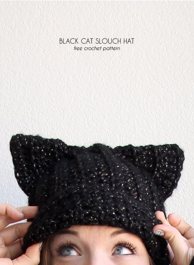 35 Easy Crochet Patterns - Black Cat Slouch Hat - Crochet Patterns For Beginners, Quick And Easy Crochet Patterns, Crochet Ideas To Try, Crochet Ideas To Make And Sell, Easy Crochet Ideas #crochet #crochetpatterns #diygifts