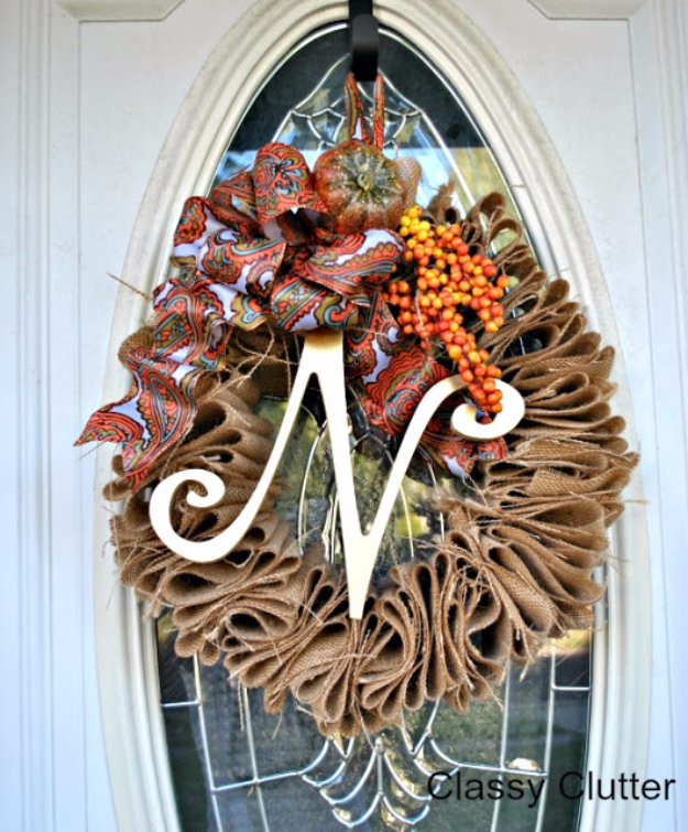 35 Fall Wreaths for Your Door - Burlap Fall Wreath - Fall Wreaths For Front Door, Fall Wreaths Ideas To Try, Easy DIY Fall Wreaths, Brilliant Fall Wreath DIY, Porch Decor, Cool Ideas For Fall, Fall Projects