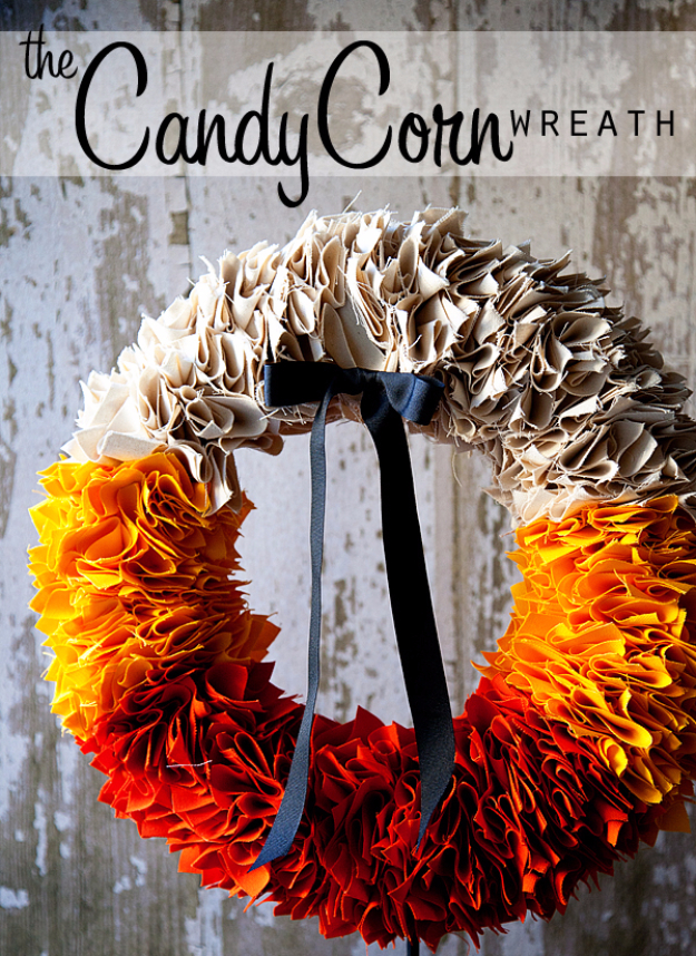 35 Fall Wreaths for Your Door - Candy Corn Wreath Tutorial - Fall Wreaths For Front Door, Fall Wreaths Ideas To Try, Easy DIY Fall Wreaths, Brilliant Fall Wreath DIY, Porch Decor, Cool Ideas For Fall, Fall Projects http://diyjoy.com/fall-wreaths-door