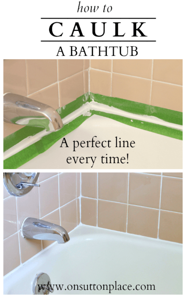DIY Home Improvement Ideas- Caulk A Bathtub - Home Repair Ideas, Home Repairs On A Budget, Home Repair Tips, Living Room, Bedroom, Kitchen Repair, Home Improvement, Quick And Easy Home Tips #diy #homeimprovement #diyhome #homerepair