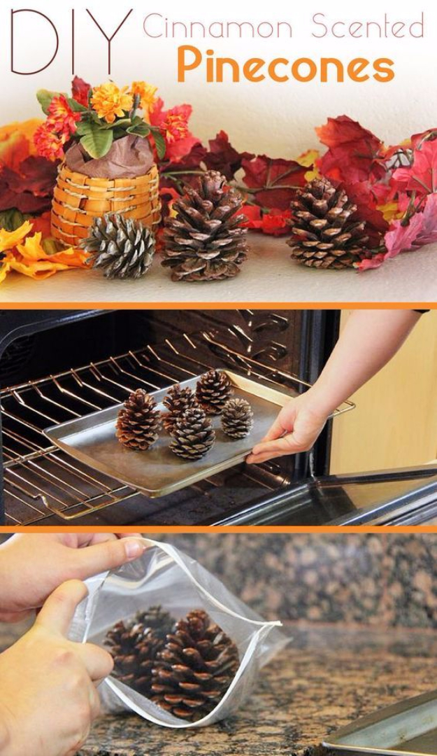 38 Best DIY Projects for Fall - Cinnamon Scented Pinecones - Quick And Easy Projects For Fall, Fun DIY Projects To Try This Fall, Cute Fall Craft Ideas, Fall Decors, Easy DIY Crafts For Fall