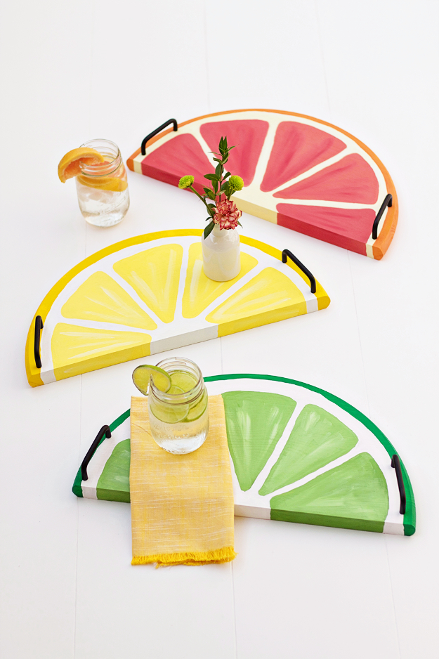 41 Easiest DIY Projects Ever - Citrus Fruit Serving Trays - Easy DIY Crafts and Projects - Simple Craft Ideas for Beginners, Cool Crafts To Make and Sell, Simple Home Decor, Fast DIY Gifts, Cheap and Quick Project Tutorials http://diyjoy.com/easy-diy-projects