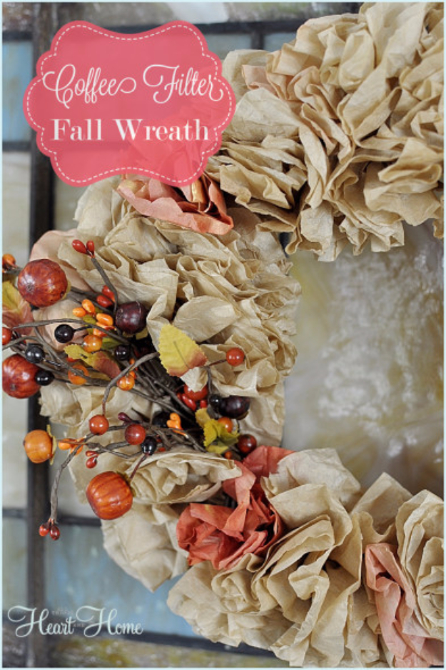 Easy DIY Fall Wreaths for The Front Door - Coffee Filter Fall Wreath - Fall Wreaths For Front Door, Fall Wreaths Ideas To Try, Easy DIY Fall Wreaths, Brilliant Fall Wreath DIY, Porch Decor, Cool Ideas For Fall, Fall Projects