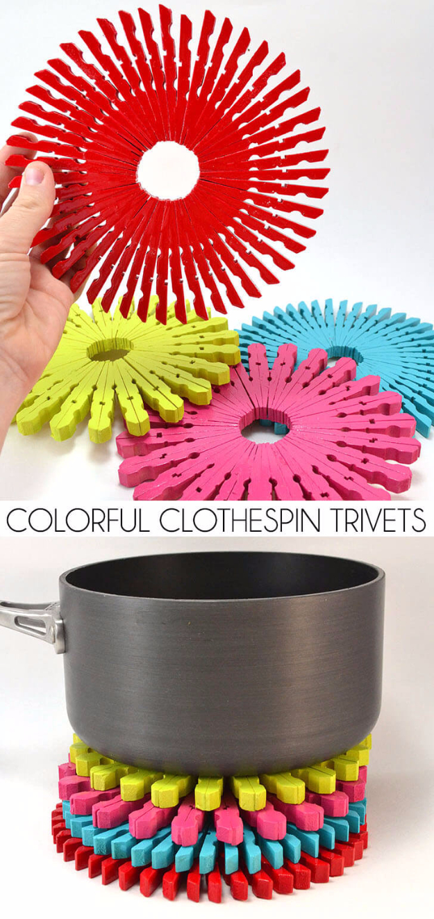 Dollar Store Crafts - Colorful Clothespin Trivets - Best Cheap DIY Dollar Store Craft Ideas for Kids, Teen, Adults, Gifts and For Home #dollarstore #crafts #cheapcrafts #diy