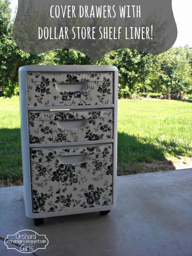 Dollar Store Crafts - Cover Drawers with Dollar Store Shelf Liner - Best Cheap DIY Dollar Store Craft Ideas for Kids, Teen, Adults, Gifts and For Home #dollarstore #crafts #cheapcrafts #diy