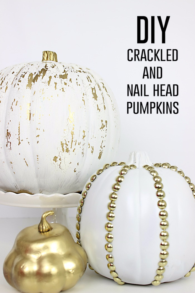 34 Pumpkin Decorations For Fall - Crackled And Studded Pumpkins - Easy DIY Pumpkin Decor Ideas for Home, Yard, Outdoors - Cool Pumpkin Decorating Ideas for Adults and Kids Party, Creative Crafts With Paint, Glitter and No Carve Projects for Halloween