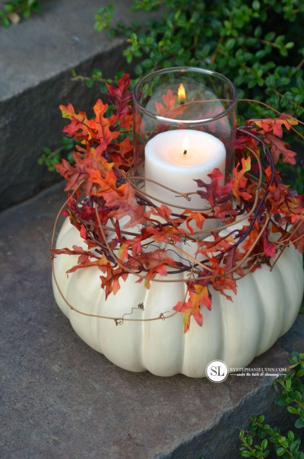 34 Pumpkin Decorations For Fall - Craft Pumpkin Candle Holders - Easy DIY Pumpkin Decor Ideas for Home, Yard, Outdoors - Cool Pumpkin Decorating Ideas for Adults and Kids Party, Creative Crafts With Paint, Glitter and No Carve Projects for Halloween