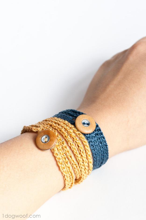 35 Easy Crochet Patterns - Crochet Wrap Bracelet Button - Crochet Patterns For Beginners, Quick And Easy Crochet Patterns, Crochet Ideas To Try, Crochet Ideas To Make And Sell, Easy Crochet Ideas #crochet #crochetpatterns #diygifts