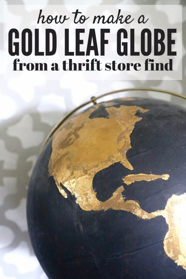 Easy DIY Projects - DIY Black And Gold Globe - Easy DIY Crafts and Projects - Simple Craft Ideas for Beginners, Cool Crafts To Make and Sell, Simple Home Decor, Fast DIY Gifts, Cheap and Quick Project Tutorials #diy #crafts #easycrafts