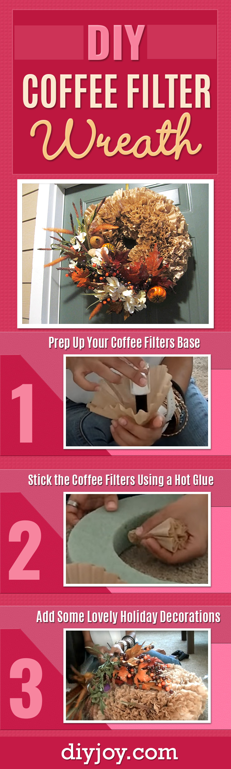 How To Make A Coffee Filter Wreath - Best Easy Wreath for Your Door - Cheap DIY Home Decor Ideas and Creative Crafts on a Budget - Do It Yourself Holiday Decor and Rustic, Country Crafts Tutorials
