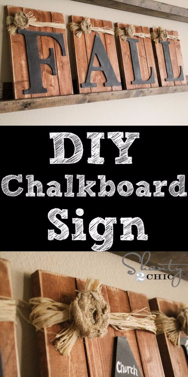 38 Best DIY Projects for Fall - DIY Chalkboard Fall Sign - Quick And Easy Projects For Fall, Fun DIY Projects To Try This Fall, Cute Fall Craft Ideas, Fall Decors, Easy DIY Crafts For Fall