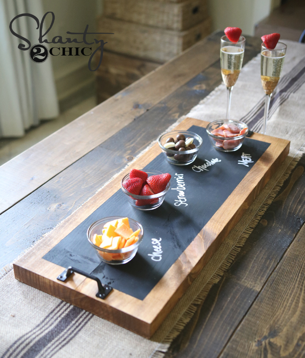 Easy DIY Projects - DIY Chalkboard Serving Tray - Easy DIY Crafts and Projects - Simple Craft Ideas for Beginners, Cool Crafts To Make and Sell, Simple Home Decor, Fast DIY Gifts, Cheap and Quick Project Tutorials #diy #crafts #easycrafts