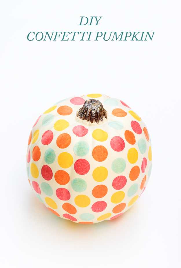 34 Pumpkin Decorations For Fall - DIY Confetti Pumpkin - Easy DIY Pumpkin Decor Ideas for Home, Yard, Outdoors - Cool Pumpkin Decorating Ideas for Adults and Kids Party, Creative Crafts With Paint, Glitter and No Carve Projects for Halloween