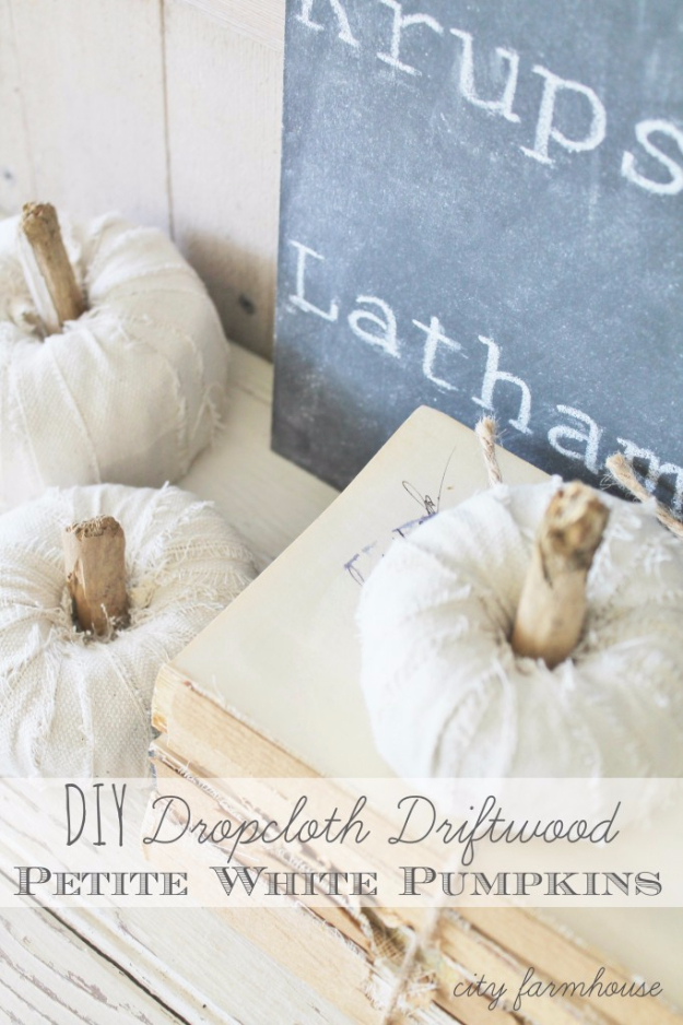 34 Pumpkin Decorations For Fall - DIY Dropcloth Driftwood Petite White Pumpkins - Easy DIY Pumpkin Decor Ideas for Home, Yard, Outdoors - Cool Pumpkin Decorating Ideas for Adults and Kids Party, Creative Crafts With Paint, Glitter and No Carve Projects for Halloween http://diyjoy.com/pumpkin-decorations-fall