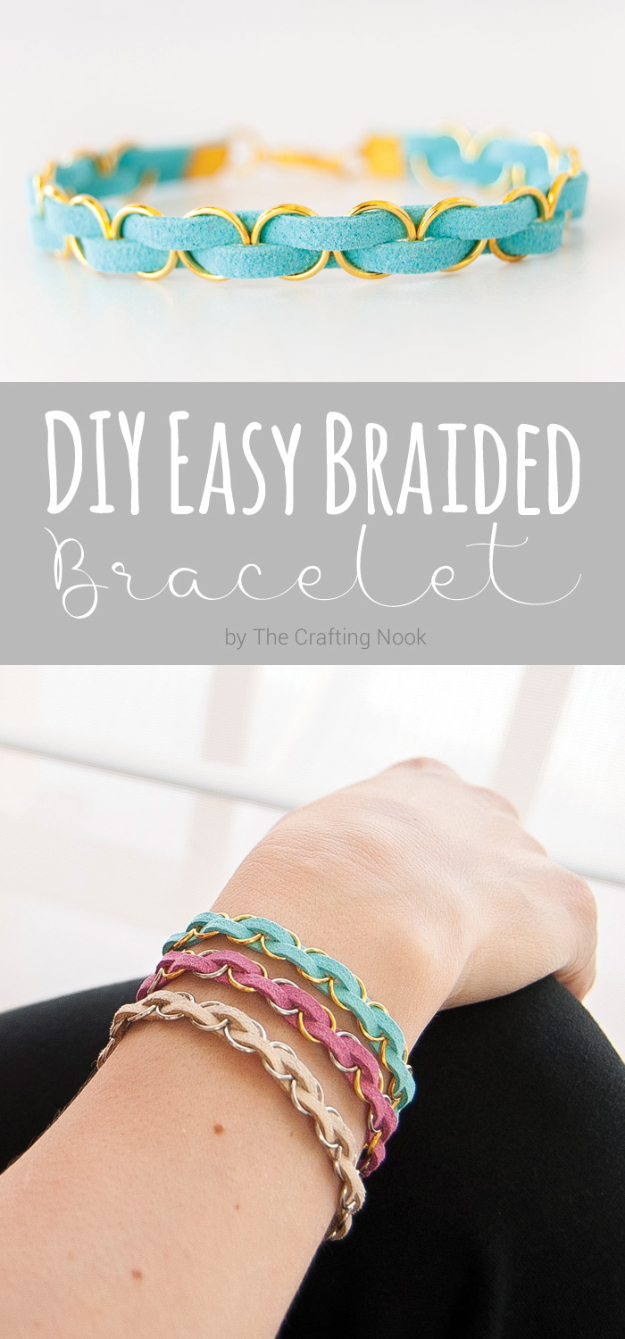 Easy DIY Projects - DIY Easy Braided Bracelet - Easy DIY Crafts and Projects - Simple Craft Ideas for Beginners, Cool Crafts To Make and Sell, Simple Home Decor, Fast DIY Gifts, Cheap and Quick Project Tutorials #diy #crafts #easycrafts