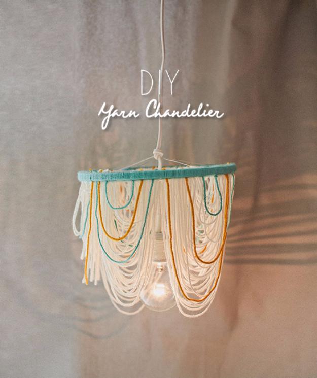 Clever DIYs Made With Yarn - DIY Easy Yarn Chandelier - Yarn Crafts To Try, Easy Yarn DIYs, Fun Crafts To Do With Yarn, Wall Art, Awesome Yarn Ideas, Yarn DIY Projects, Brillian Yarn Craft Tutorials http://diyjoy.com/diy-curtains-drapes