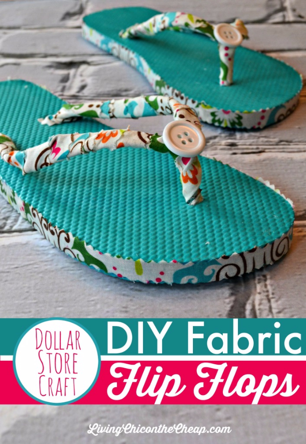 Dollar Store Crafts - DIY Fabric Flip Flops - Best Cheap DIY Dollar Store Craft Ideas for Kids, Teen, Adults, Gifts and For Home - Christmas Gift Ideas, Jewelry, Easy Decorations. Crafts to Make and Sell and Organization Projects http://diyjoy.com/dollar-store-crafts