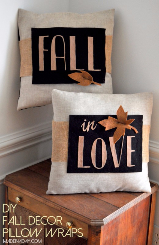 38 Best DIY Projects for Fall - DIY Fall Decor Pillow Wrap - Quick And Easy Projects For Fall, Fun DIY Projects To Try This Fall, Cute Fall Craft Ideas, Fall Decors, Easy DIY Crafts For Fall