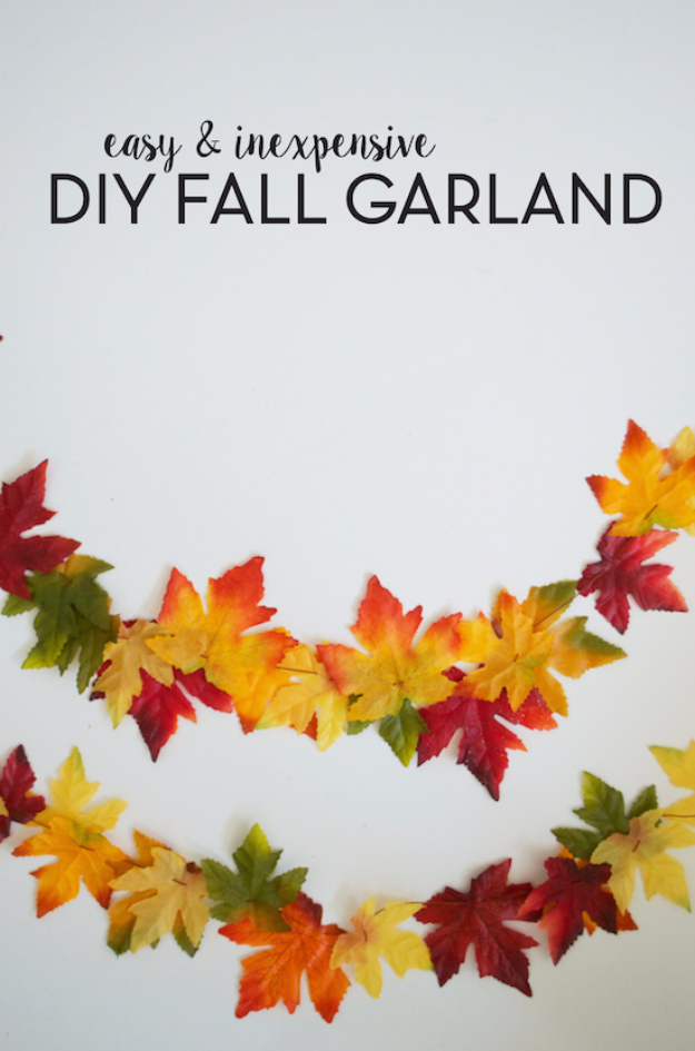 38 Best DIY Projects for Fall - DIY Fall Leaf Garland - Quick And Easy Projects For Fall, Fun DIY Projects To Try This Fall, Cute Fall Craft Ideas, Fall Decors, Easy DIY Crafts For Fall