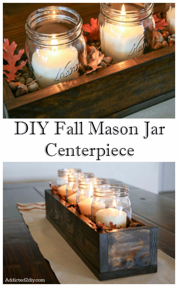 DIY Fall Mason Jar Centerpiece - Easy Decorating Ideas Projects For Fall -DIY Fall Mason Jar Crafts Ideas - Rustic Farmhouse Decor DIY