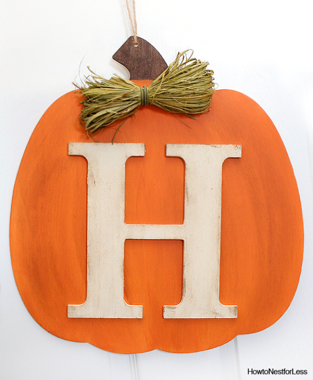 38 Best DIY Projects for Fall - DIY Fall Pumpkin Monogram - Quick And Easy Projects For Fall, Fun DIY Projects To Try This Fall, Cute Fall Craft Ideas, Fall Decors, Easy DIY Crafts For Fall http://diyjoy.com/diy-projects-for-fall