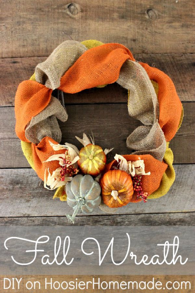 35 Fall Wreaths for Your Door - DIY Fall Wreath - Fall Wreaths For Front Door, Fall Wreaths Ideas To Try, Easy DIY Fall Wreaths, Brilliant Fall Wreath DIY, Porch Decor, Cool Ideas For Fall, Fall Projects