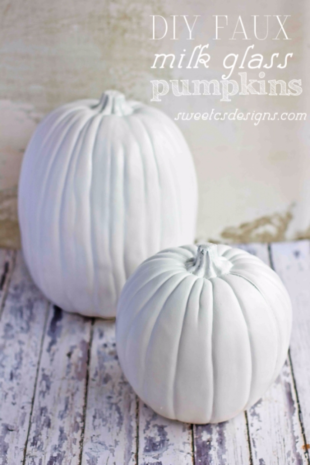 34 Pumpkin Decorations For Fall - DIY Faux Milk Glass Pumpkins - Easy DIY Pumpkin Decor Ideas for Home, Yard, Outdoors - Cool Pumpkin Decorating Ideas for Adults and Kids Party, Creative Crafts With Paint, Glitter and No Carve Projects for Halloween