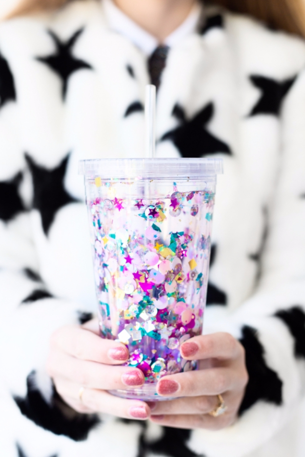 Dollar Store Crafts - DIY Floating Glitter Tumbler - Best Cheap DIY Dollar Store Craft Ideas for Kids, Teen, Adults, Gifts and For Home - Christmas Gift Ideas, Jewelry, Easy Decorations. Crafts to Make and Sell and Organization Projects http://diyjoy.com/dollar-store-crafts