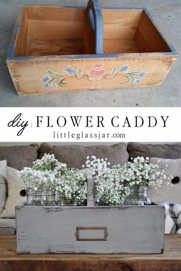 Dollar Store Crafts - DIY Flower Caddy - Best Cheap DIY Dollar Store Craft Ideas for Kids, Teen, Adults, Gifts and For Home #dollarstore #crafts #cheapcrafts #diy