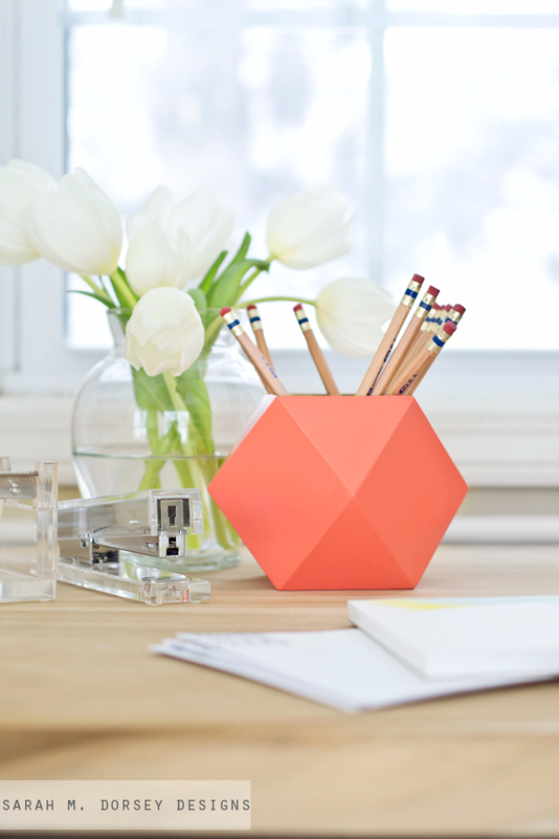 Dollar Store Crafts - DIY Geometric Pencil Cups - Best Cheap DIY Dollar Store Craft Ideas for Kids, Teen, Adults, Gifts and For Home #dollarstore #crafts #cheapcrafts #diy